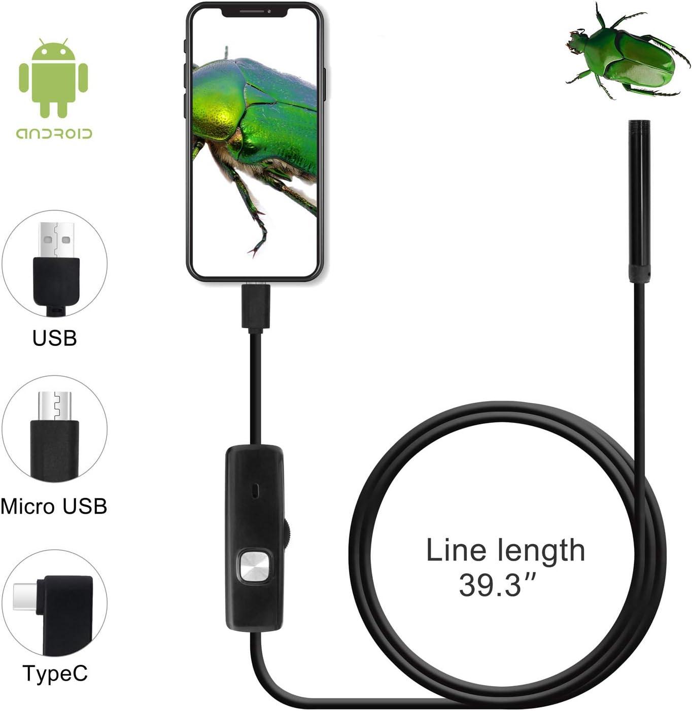 1m QiCheng/&LYS USB Android Endoskop 2,0 Megapixel CMOS HD 2 in 1 wasserdichte Endoskop Inspektionskamera Starre Schlangenkabel f/ür Smartphone Tablet-Ger/ät
