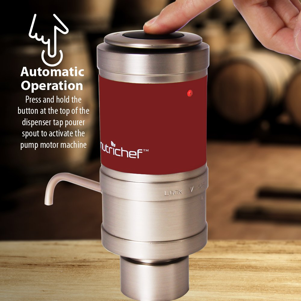 Electric Wine Aerator Dispenser Pump - Portable and Automatic Bottle Breather Tap Machine - Air Decanter Diffuser System for Red and White Wine w/Unique Metal Pourer Spout - NutriChef PSLWPMP50 by NutriChef (Image #7)