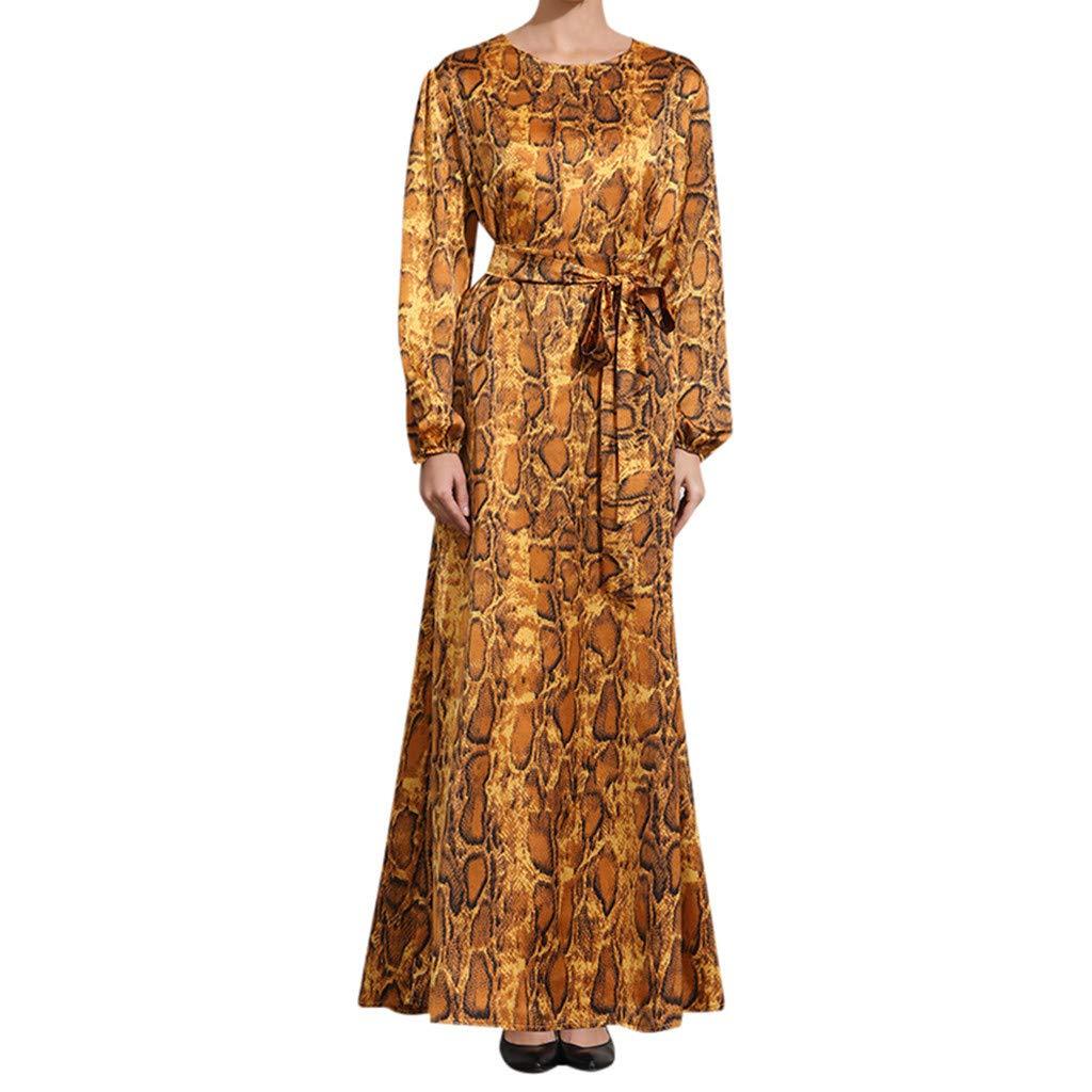 Women's Muslim Maxi Dresses, Zlolia Party Long Sleeve kaftan Abaya Waist Robe