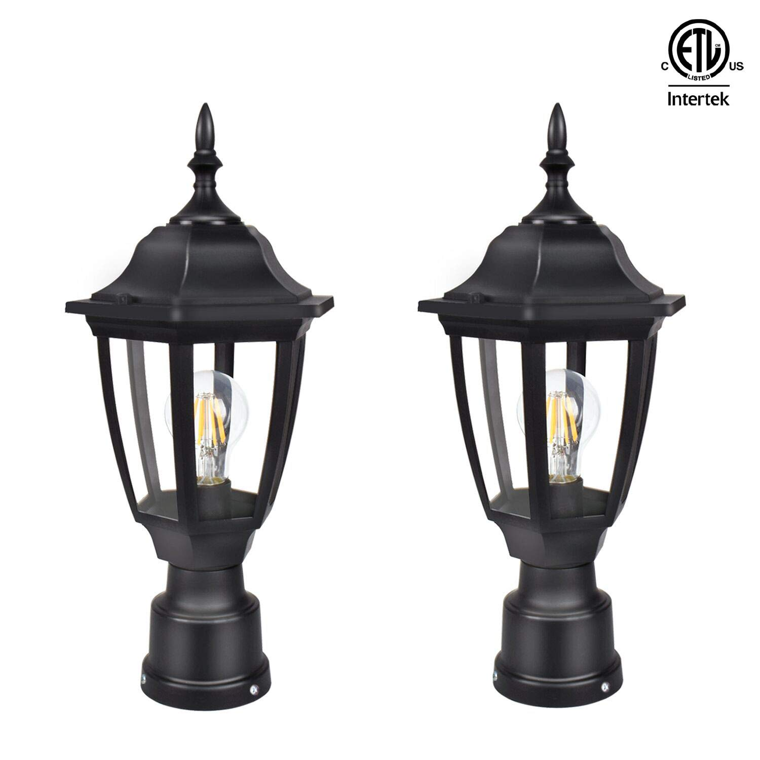 FUDESY 2-Pack LED Outdoor Post Light Fixtures,Plastic Black Post Lanterns with 12W 1200LM Edison Filament Bulb(Corded-Electric), FDS2543B by FUDESY