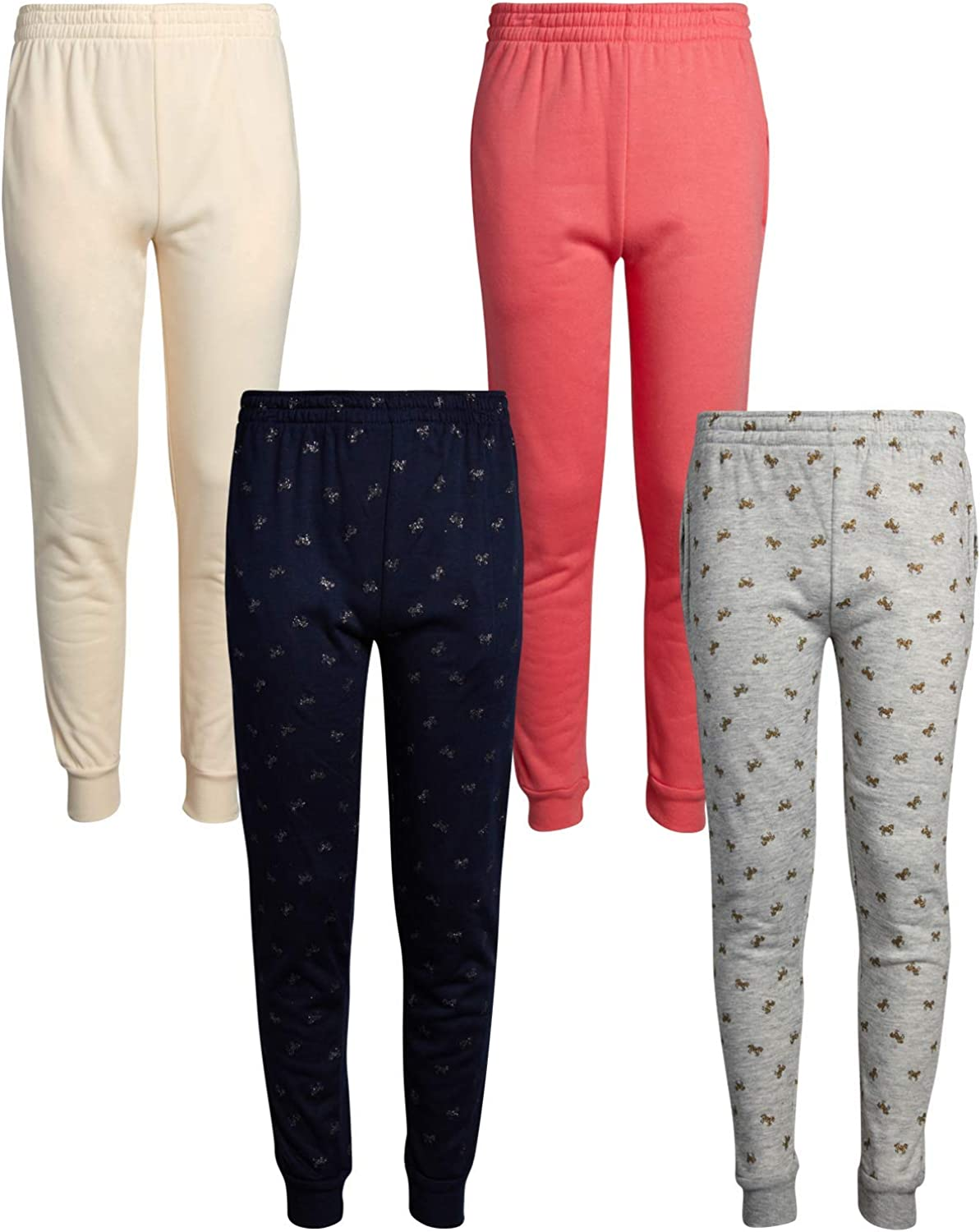 Real Love Girls Fleece Jogger Sweatpants with Pockets (4 Pack): Clothing
