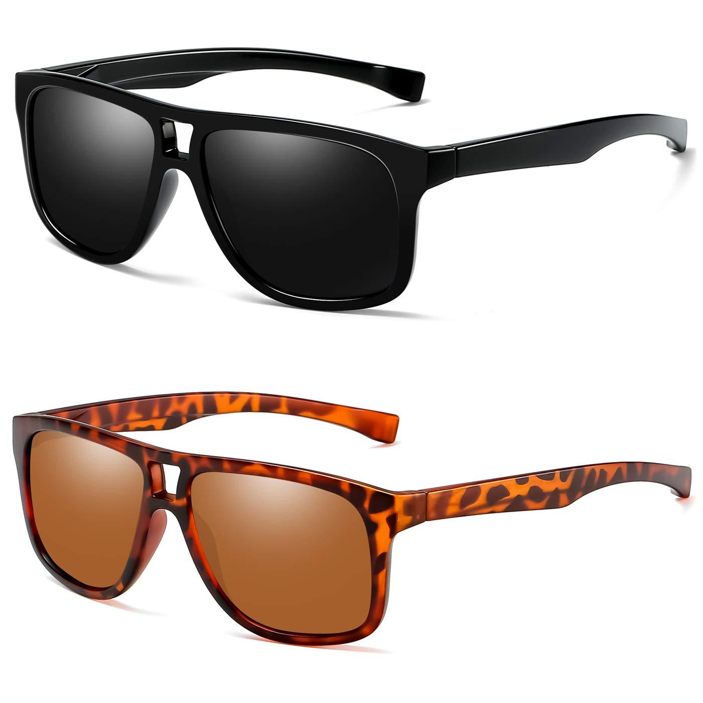 Joopin Fashion Oversized Mens Sunglasses Polarized - 100% UV Protection Retro Sunglasses for Women E8943 (Double Bridge 2 Pack) by Joopin