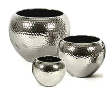 Ceramic Flower Pot, silver, hammered, high quality, 3 sizes ... on