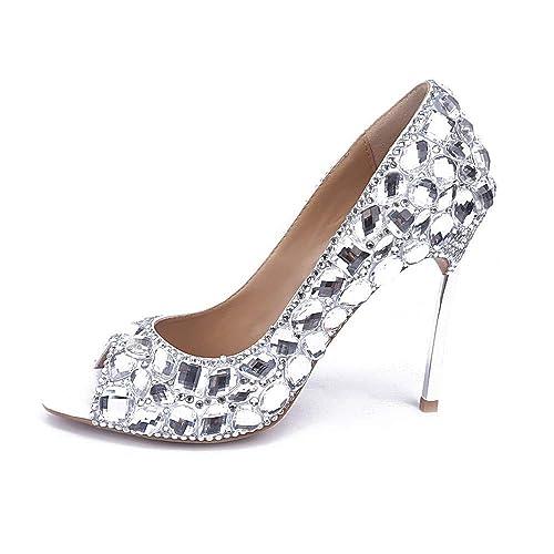 Brillo de Novia Perlas Piedras Zapatos Tacones Night Club Cristal Diamante Mocasines Pescado Respirable Sexy Boca Sandalias Peep Toe de la Boda 10cm: ...