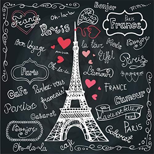 LFEEY 4x4ft Romantic Paris Eiffel Tower Backdrop Doodle Hand Drawn French on Blackboard Photography Background Franch Landmark Chalkboard Love Heart Shaped Pattern Photo Studio Props Vinyl Banner