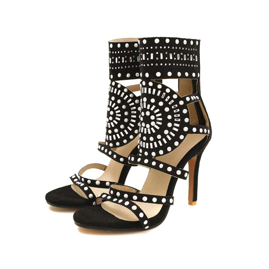 Thenxin New!Rivets Back Zipper High Heel Sandals for Women Open Toe Ankle Strap for Dress Wedding Party (Black,6.5 US)