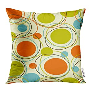 Emvency Throw Pillow Cover Colorful 1950S Retro Abstract Mid Century 1960S Modern Decorative Pillow Case Home Decor Square 18x18 Inches Pillowcase