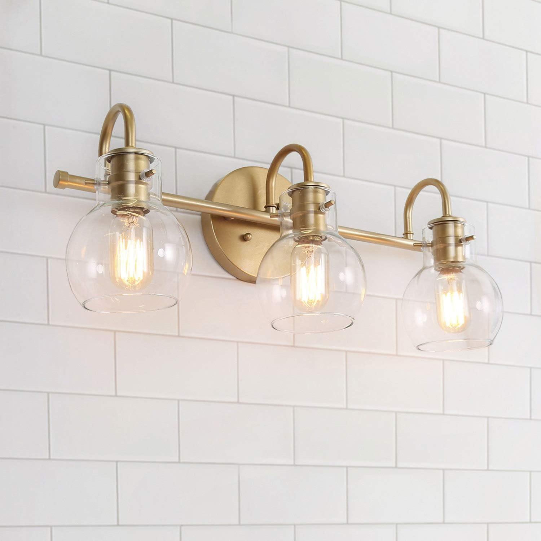 Bathroom Lights Over Mirror Gold Bathroom Light Fixtures With 3 Clear Glass Globe Shades 22 X7 X9 Amazon Com