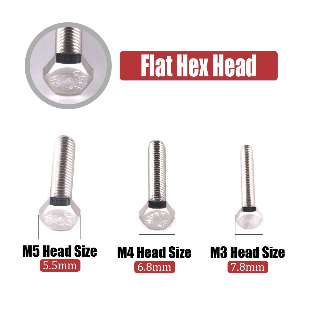 Hilitchi 705-Pcs M3 M4 M5 Hex Hexagon Head Cap Machine Screws Bolts Nuts Flat and Lock Washers Assortment Kit, 304 Stainless Steel, 8 to 20mm Length, Full Thread by Hilitchi (Image #3)