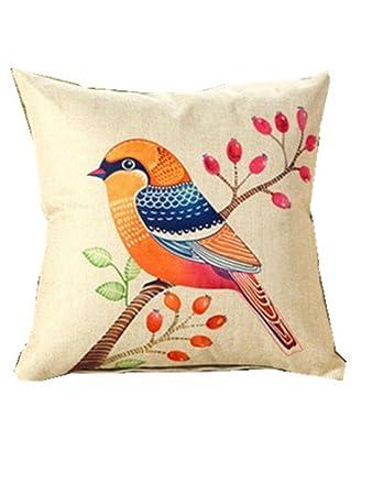 Amazon.com: Cojín de algodón con estampado de pájaros de ASO ...