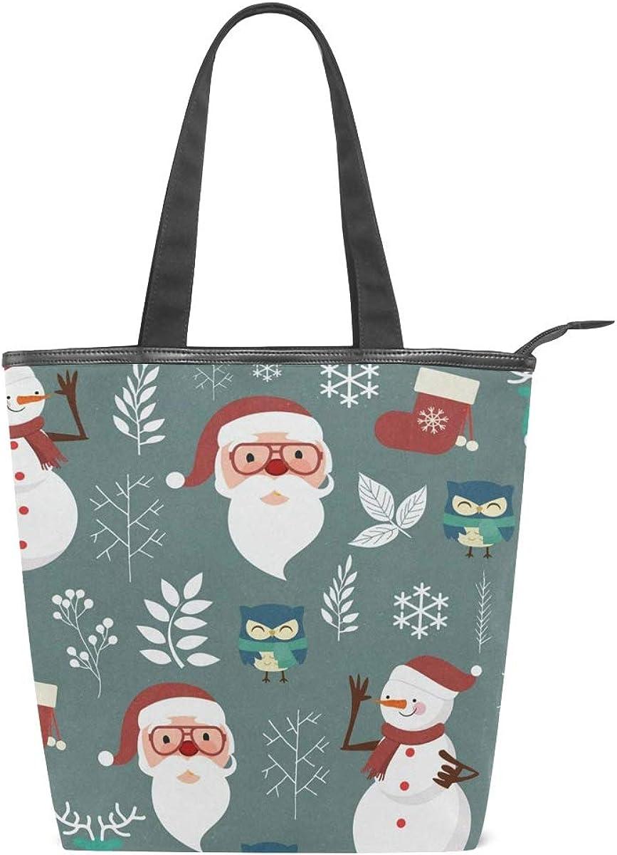 Christmas Snowman Owl Canvas Top Handle Tote Bag Shoulder Bag Handbag for Women