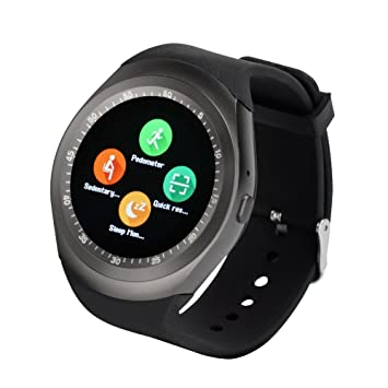 Yuntab Y1 Smart Watch Bluetooth,Support SIM &TF Card,Fitness Activity  Tracker Sleep Monitor Pedometer Message Sync Notifier,1 54 inch Touch  Screen,for