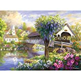 Bits and Pieces - 500 Piece Jigsaw Puzzle for Adults - Picturesque Covered Bridge - 500 pc Flowers by the Lake Jigsaw by Artist Nicky Boehme