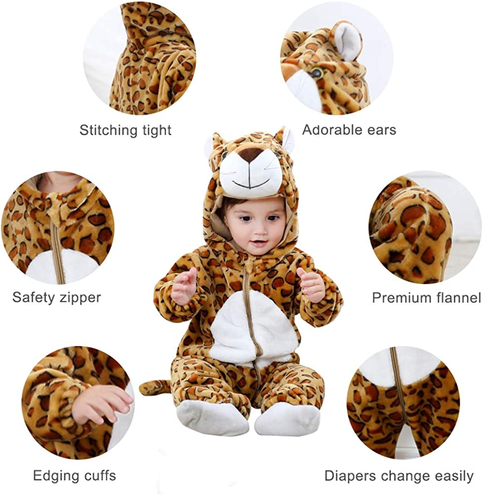 COOKY.D Infant Hooded Baby Rompers Winter Flannel Jumpsuit Pajamas 0-36 Months
