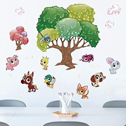 decalmile Colorful Animals and Tree Wall Decals Kids Wall Stickers ...