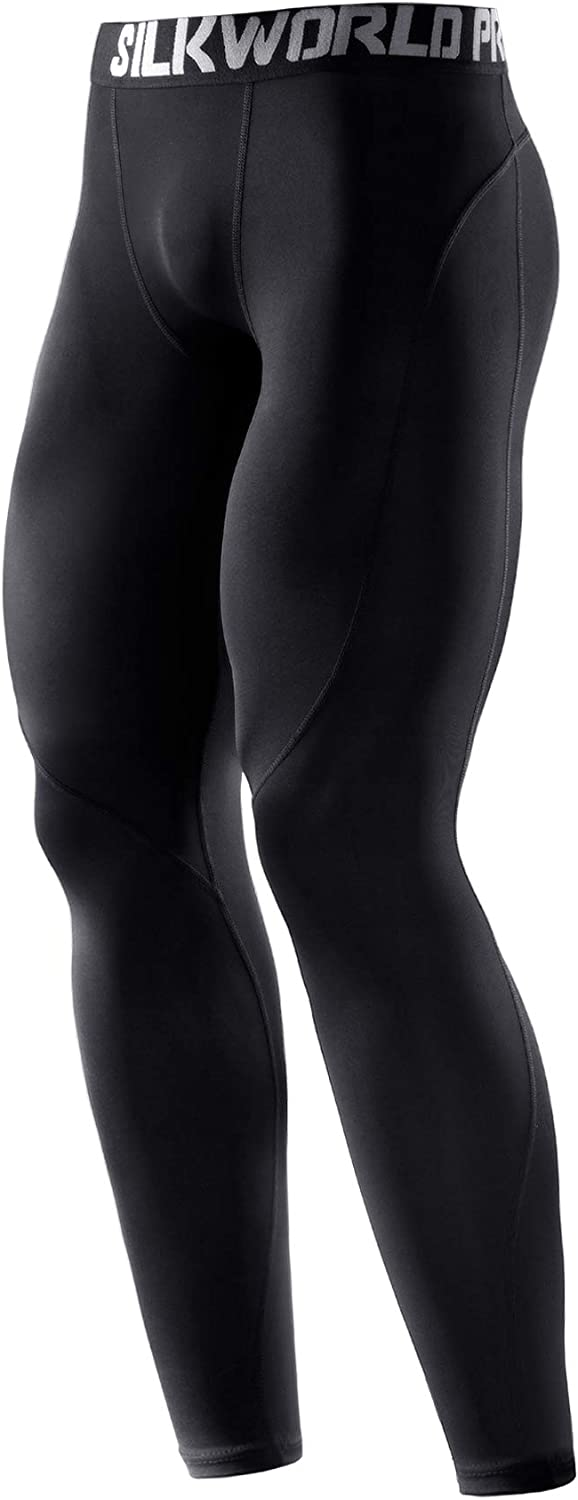 SILKWORLD Mens 1~3 Pack Compression Pants Cool Dry Baselayer Workout Running Tight Leggings
