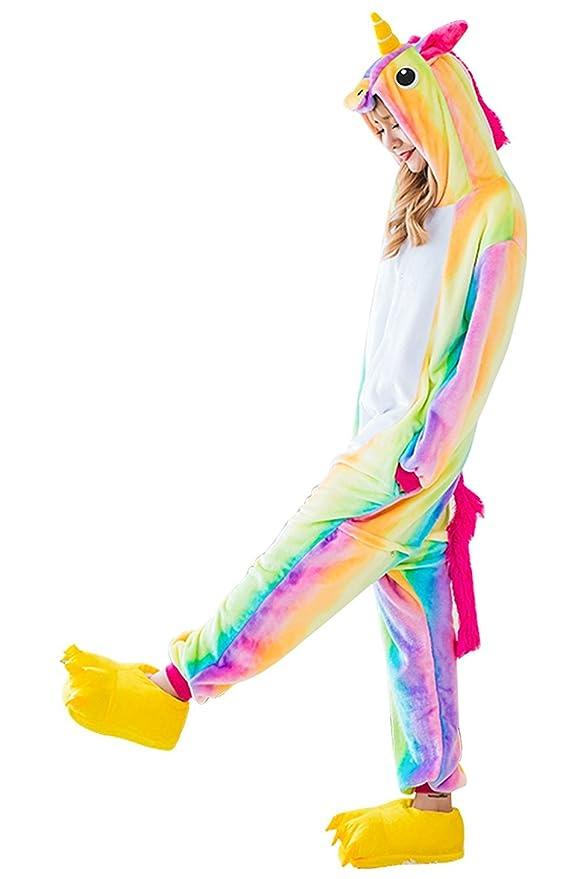 Amazon.com: ABaowedding Adult Pajamas Costumes Unicorn Cosplay Animal Jumpsuits Sleepwear Onesie Women (L, Rainbow): Clothing