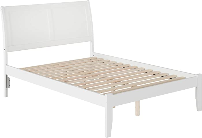 Atlantic Furniture Portland Platform Bed with Open Foot Board, Full, White