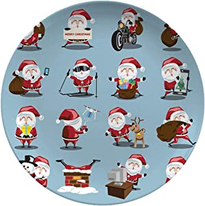 Christmas Ceramic Stoneware Dinner Plates,Santa Clauses Set For,dinner Plates Set Plate For Home And Kitchen,dinner Dishes,10 Inch