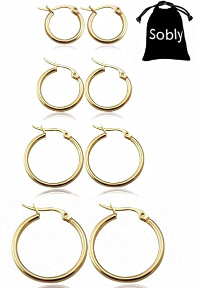 Jstyle Jewelry Women's Cute Small Hoop Earrings Stainless Steel 3 Pairs a Set