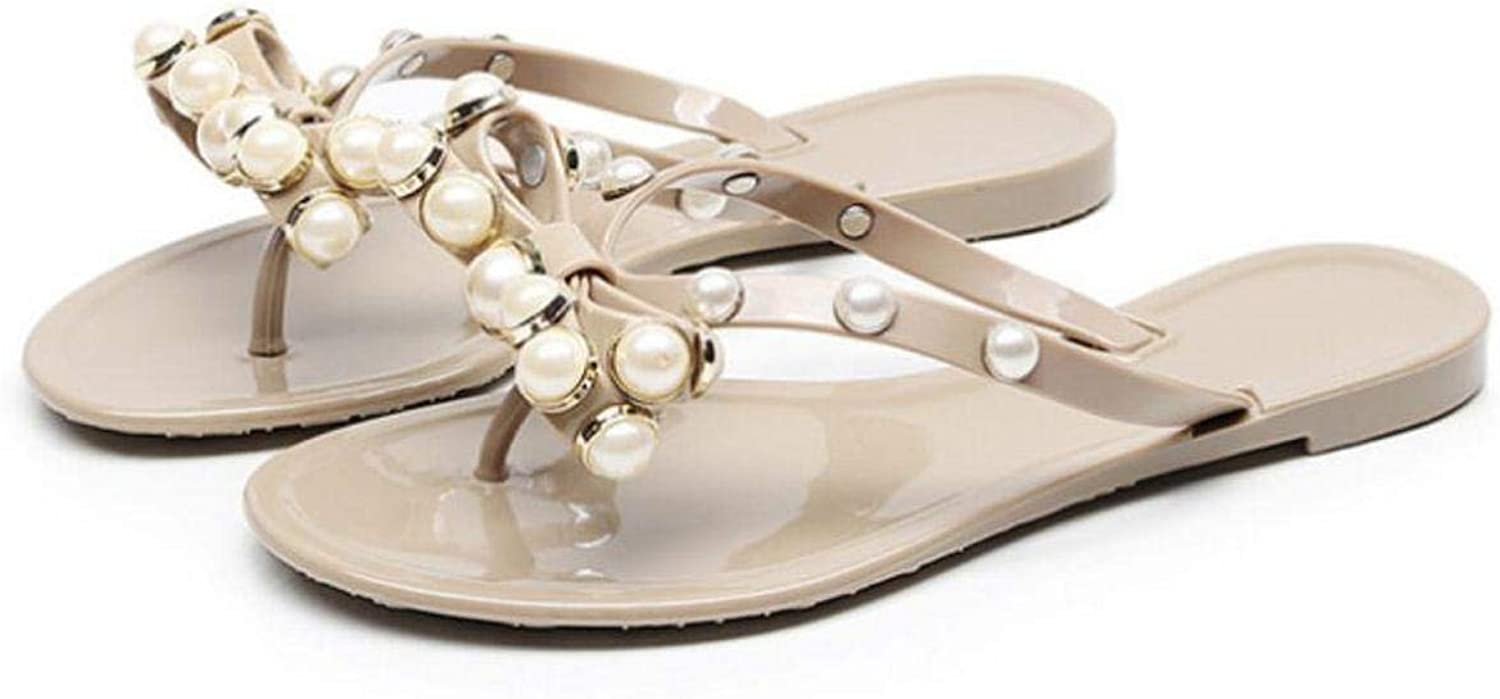 Triumphes Summer Bow Pearl Slippers Jelly Shoes Women Beach Waterproof Large Size Ladies Flip Flops Solid Footwear