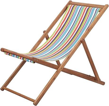 Festnight Chaise Pliante Jardin pour tressée Chaise de Plage Chaise Longue Pliable de Patio en Tissu Multicolore