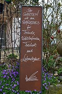 'Metal de, Jardín De Enchufe de–El jardín es un paraíso....... ---- decorativo elegante de imagenes con sabiduría, 125–130cm–Para Casa y jardín
