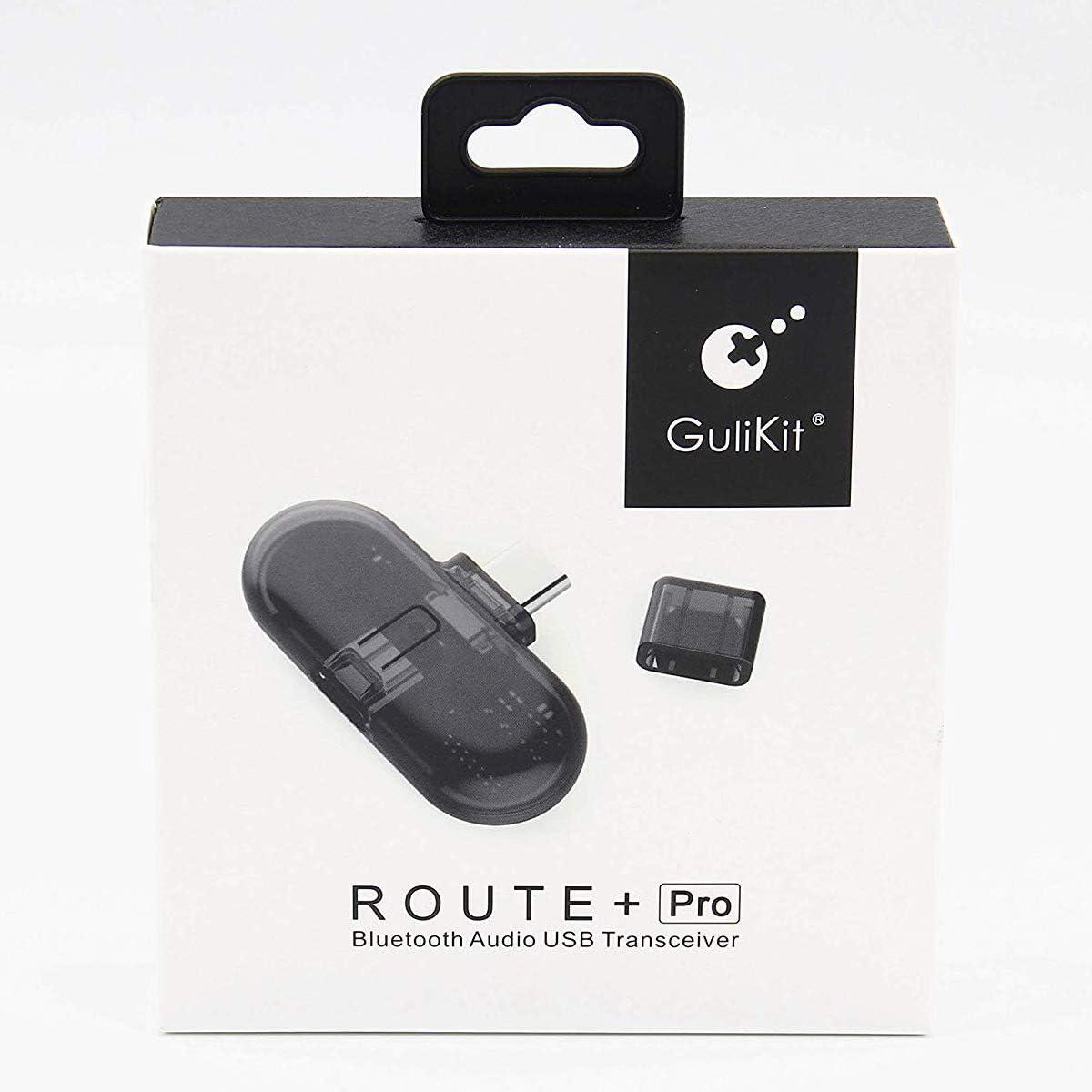 Adaptador Inalámbrico Bluetooth para Nintendo Switch, Route+ Pro USB C Bluetooth Dongle, Wireless Transmisor y Receptor de Audio aptX con Micrófono para PC, Auriculares Bluetooth, Altavoz
