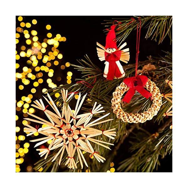 56 pezzi di paglia di decorazione dell'albero di Natale, ciondolo di ornamenti creativi da appendere alle forniture di artigianato natalizio Ornamenti decorativi da appendere 2 spesavip