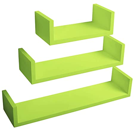 WOLTU Floating Shelves Lime Green Set Of 3 U Shaped CD DVD Toys Storage