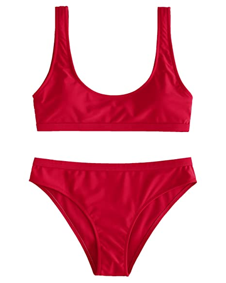 miglior servizio 70cb8 db735 ZAFUL Women Two Pieces Swimwear Swimsuit Knotted Padded Scoop Bikini Sets  Beachwear Bathing Suit Camel
