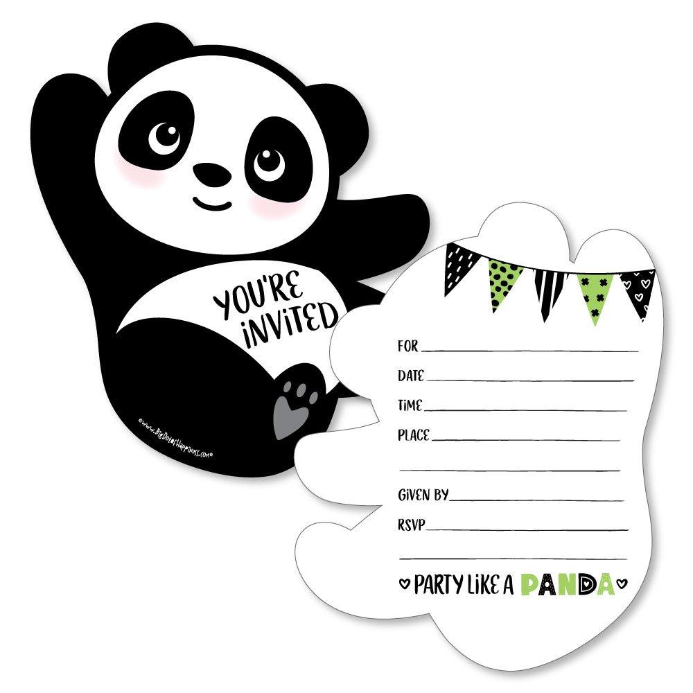 Amazon.com: Party Like a Panda Bear - Shaped Fill-in Invitations ...