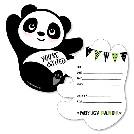 Party Like A Panda Bear Shaped Fill In Invitations Baby Shower Or Birthday Party Invitation Cards With Envelopes Set Of 12