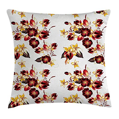 FFR-EHC Decorative Cushion Flowers Floral Seamless Wallpaper Pattern with Flowers Decorative Design Imagine,Pillowcase Cushion Cover for Sofa Throw Pillow Case Gifts 18