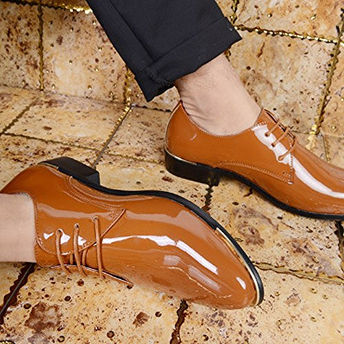 Tuxedo Business PU Heel in Resistente pelle Dimensione EU Loafers Sunny Colore 39 da verniciata up Scarpe uomo Block all'abrasione Marrone Lined amp;Baby Oxfords Lace Bianca wIOxq0Zv