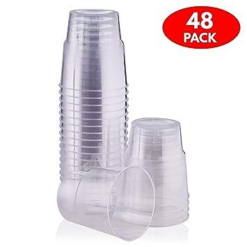 48 Copas de Postres Desechables, (240 ml) - Plástico Duro Reutilizable y Resistente