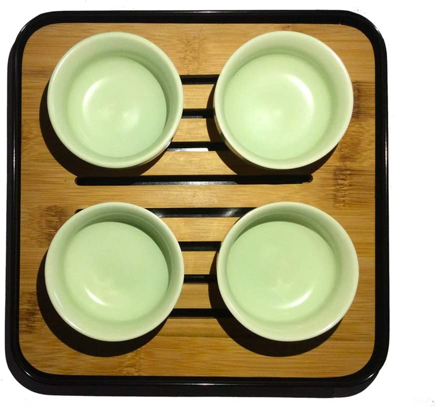 Ceramic Kungfu Tea Set,Portable Travel Tea Set with Teapot Black