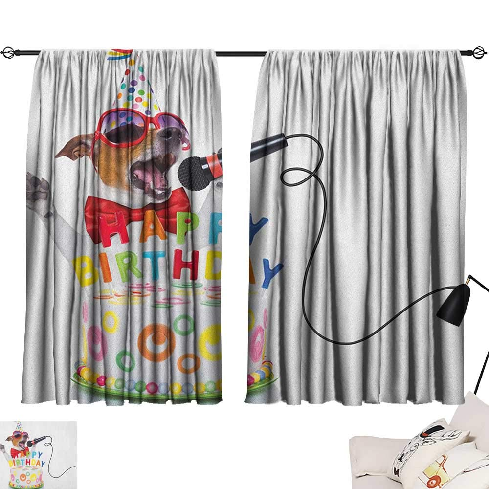 Pattern22 W63  x L72  Beihai1Sun Kids Birthday Decorative Darkening Curtains Baby Girl Birthday with Teddy Bears Toys Balloons Surprise Boxes Dolls Image Curtain Kitchen Window Pale Pink W63 x L45