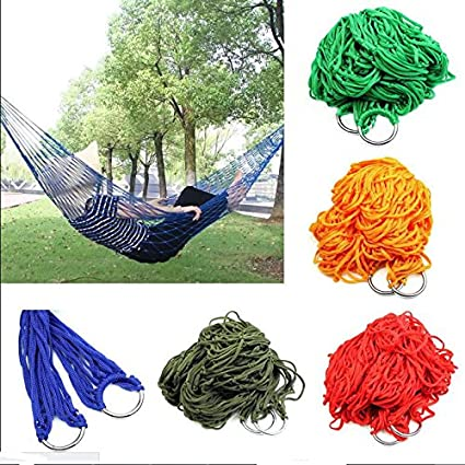 Sellify Blue : Nylon Hammock Hanging Portable Hot Outdoor Mesh New Swing Travel Camping Sleeping Bed