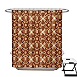 42 Inch Square Ottoman Tan and Brown Shower Curtains Mildew Resistant Kaleidoscopic Round Figures with Asian Origins Ethnic Ottoman Bathroom Decor Sets with Hooks W69 x L84 Brown Beige Pale Orange