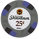 Claysmith Gaming Pack of 50 Showdown Poker Chips, Heavyweight 13.5-Gram Clay Composite