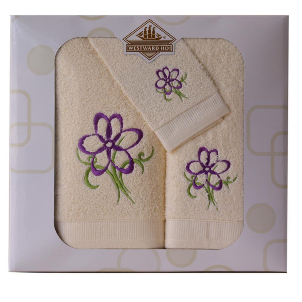 Ho!-Asciugamano Set da 3 Motivo Floreale Westward Ho Colore: Bordeaux in Cotone