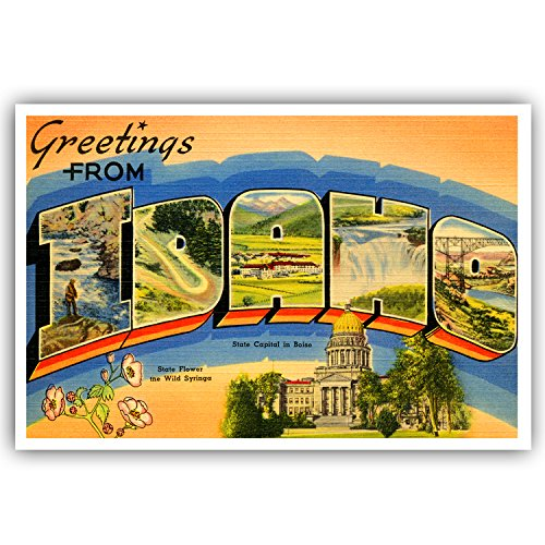 GREETINGS FROM IDAHO vintage reprint postcard set of 20 identical postcards. Large letter US state name post card pack (ca. 1930's-1940's). Made in USA.