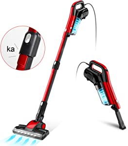 GeeMo Vacuum Cleaner,4 in 1 Stick Vacuum 17Kpa Powerful Suction, with LED Electric Brush 1.2L High-Capacity Quiet Vacuum,with HEPA Quadruple Filter for Deep Clean Pet Hair Carpet Hard Floor-H595