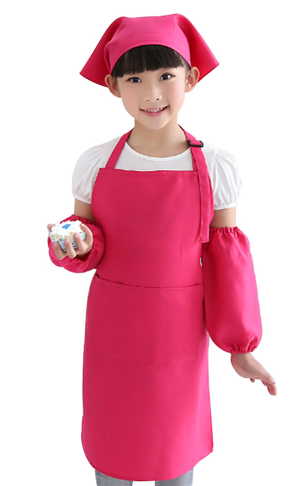 Happy Cherry Children's 3pc Solid Color Painting Crafts Aprons Smock with 2 Pockets & Sleevelet & Headkerchief Set Size M - Pink