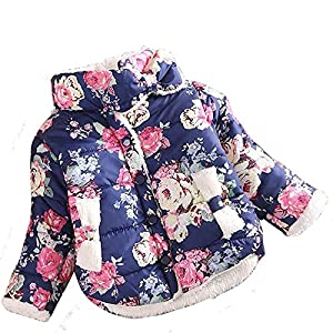 Baby Girls Toddler Floral Coat Fleece Jacket Princess Outwear Winter Casual for 1-4 Years Old