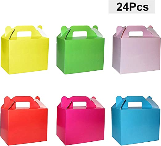 BELLE VOUS Cajas para Dulces (Pack 24) - 11 x 14 x 6cm Seis Pequeño Cajas de Cumpleaños Colores llanura - Cajas Galletas - Cajas Regalo Personalizadas para Baby ...