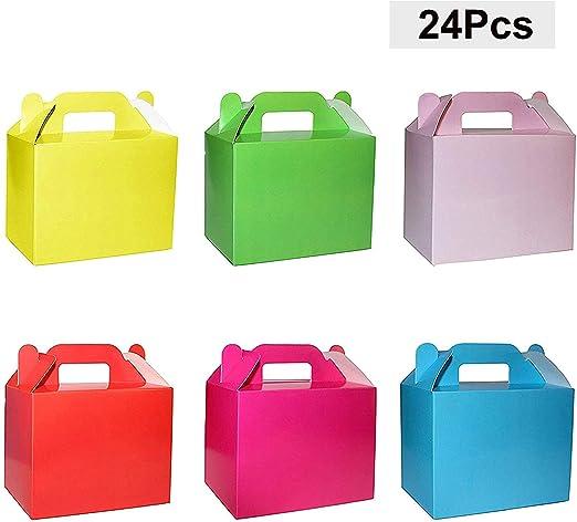 BELLE VOUS Cajas para Dulces (Pack 24) - 11x14x6cm Seis Pequeño Cajas de Cumpleaños Colores Arcoíris - Cajas Galletas - Cajas Regalo Personalizadas ...
