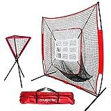 ZENY 7'×7' Baseball Softball Practice Net Hitting Batting Training Net w/Carry Bag & Metal Frame, Rubber Feet (7' X 7' Net w/Strike Zone + Ball Caddy)