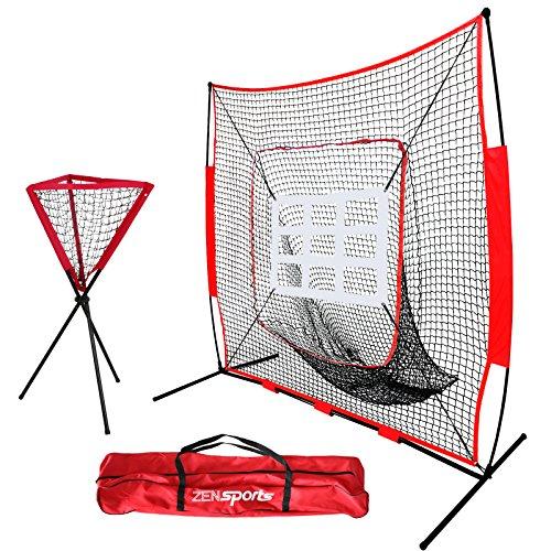 ZENY 7'×7' Baseball Softball Practice Net Hitting Batting Training Net w/Carry Bag & Metal Frame, Rubber Feet (7' X 7' Net w/Strike Zone + Ball Caddy) by ZENY